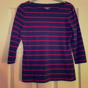 Navy and Red boat neck top